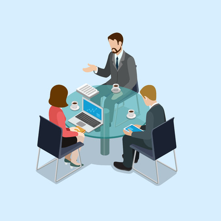 Business negotiations concept flat 3d web isometric infographic vector. Group of businessmen and woman round table talk. Creative people collection. Иллюстрация