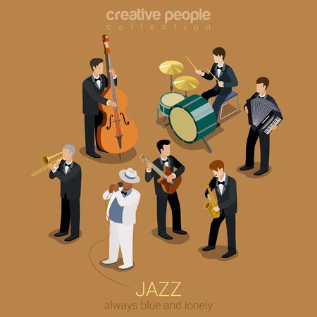 violoncello: Jazz band piatto Web 3d isometrico infografica concetto di vettore. Gruppo di giovani creativi che giocano su strumenti azzurri concerto scena. Chitarra sax violoncello fisarmonica trombone. Collezione creativa.