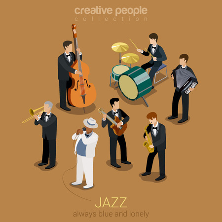 bands: Jazz music band flat 3d web isometric infographic concept vector. Group of creative young people playing on instruments blues scene concert. Guitar sax cello accordion trombone. Creative collection.