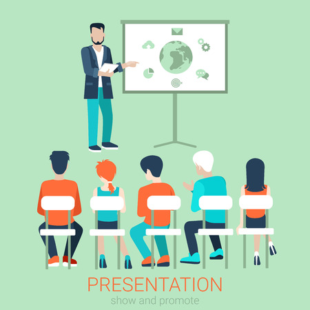 session: Flat business meeting, skull session, council, presentation, get-together, palaver web infographic concept vector. Group of character people auditory, boss in center by blackboard. Illustration