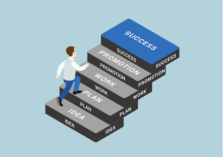 stepping: Business concept steps to succeed flat 3d web isometric infographic vector. Man stepping idea, plan, work, promotion, success blocks. Creative people collection.