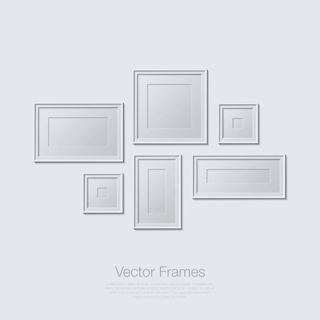 Blank picture frame template set. Empty isolated painting frames on white wall.