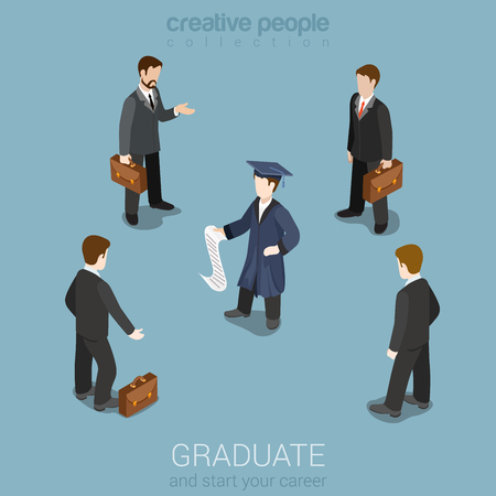 study concept: Education graduation future business carrier headhunting flat 3d web isometric infographic concept vector. Young student stands with businessmen head hunters. Creative people collection.