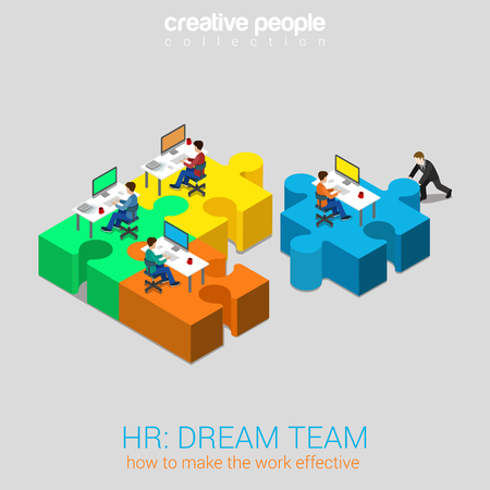 team working: HR human relations dream team solution flat 3d web isometric infographic concept vector. Businessman pushing puzzle piece with company newbie workplace to the team. Creative people collection.