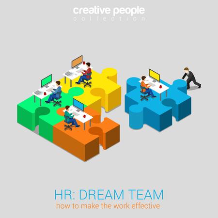 HR menselijke relaties dream team oplossing vlakke 3d web isometrische infographic begrip vector. Zakenman duwen puzzelstukje met bedrijf newbie werkplek aan het team. Creatieve mensen collectie.