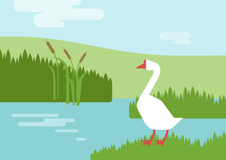 river bank: Goose on the river lake bank habitat background flat design cartoon vector farm animals birds. Flat zoo nature children collection. Illustration