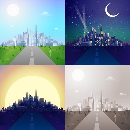 수평선 장면 설정에 현대 도시의 도시 풍경 고층 빌딩에 플랫 도로. 세련된 웹 배너 풍경 컬렉션입니다. 일광, 밤 달빛, 일몰보기, 레트로 빈티지 사진