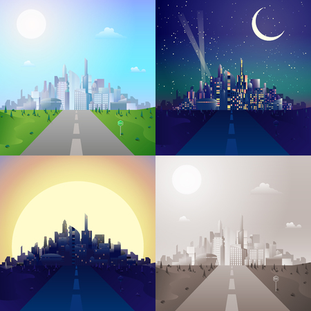 city scape: Flat road to modern urban city scape skyscrapers on horizon scene set. Stylish web banner landscape collection. Daylight, night moonlight, sunset view, retro vintage picture sepia. Illustration