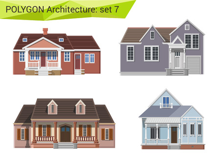facade: Polygonal style houses and buildings set. Countryside and suburb design elements. Polygon architecture collection.