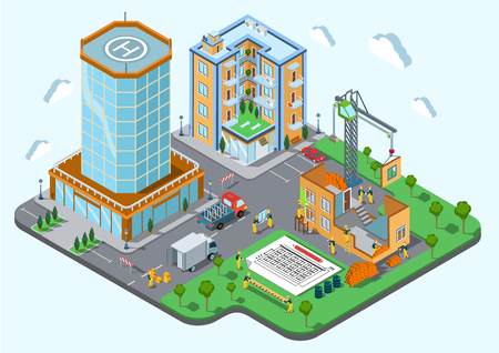 Construction place in the city concept. Modern trendy flat 3d isometric infographic. Street buildings and unfinished public house, bricks, builders, crane, van, architecture plan, boxes, materials.
