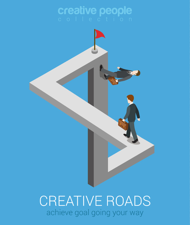 illusions: Creative ways to achieve goal flat 3d web isometric infographic business concept vector. Impossible fairy maze fable nonexistent crossing roads optical illusion. Creative people collection.