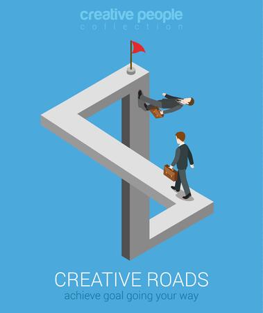 Formas creativas para lograr la meta plana Web 3d isométrica infografía vector de concepto de negocio. Imposible laberinto de hadas fábula carreteras de cruce inexistentes ilusión óptica. personas colección creativa. Foto de archivo - 48579030