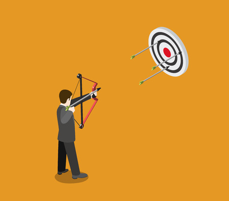 bull cartoon: Business target concept flat 3d web isometric infographic vector. Businessman archer aims bow arrow to bull eye. Creative people collection.