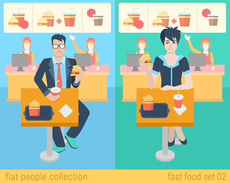 Set of stylish businessman businesswoman manager secretary sitting fastfood table. Flat people lifestyle situation fast food cafe restaurant meal time concept. Vector illustration creative collection. Illustration