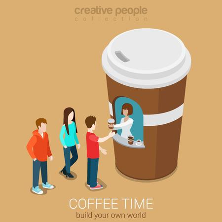 커피 미니 판매 포인트 개념 플랫 3D 웹 아이소 메트릭 인포 그래픽 개념 벡터. 세련된 거리 종이 컵 건물 근처 뜨거운 음료를 기다리는 고객의 라인입