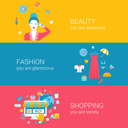 trend: Fashion beauty glamour shopping concept flat icons banners template set makeup glamorous young woman clothing online shopping vector web illustration website click infographics elements.