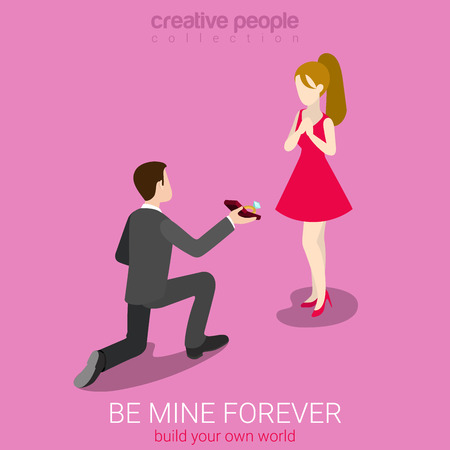 romance: Be my wife concept flat 3d web isometric infographic concept vector. Young man on knee making proposal to red dress beauty girl. Creative people love romance collection.