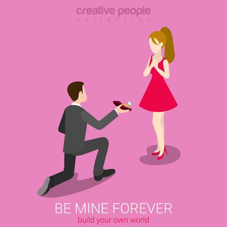 romance: Soyez mon concept de femme plat 3d isométrique web concept de vecteur infographie. Jeune homme sur la proposition de décision du genou robe rouge fille de beauté. Les personnes créatives aiment la collecte de romance.