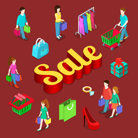 consumerism: Sale shopping consumerism modern lifestyle flat 3d web isometric infographic vector. Young micro male female group shopper customer gift box cart bag huge letters. Creative people collection.