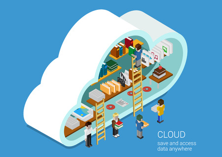 library shelf: Modern 3d flat design isometric concept for cloud service online media file data backup storage. Cloud shape library shelf and people on the ladders upload download folder data disc information.
