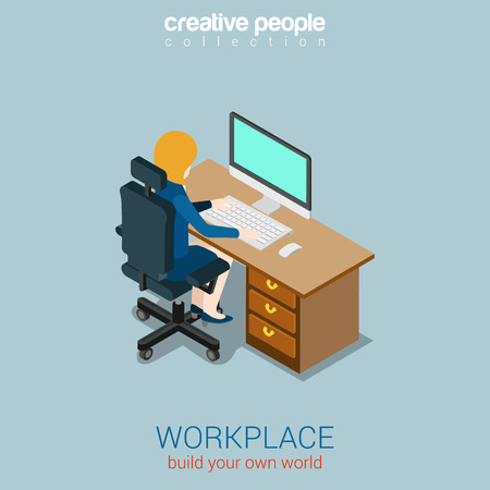 unrecognizable person: Woman operator manager workplace flat 3d web isometric infographic concept vector. Build your own world creative people collection.