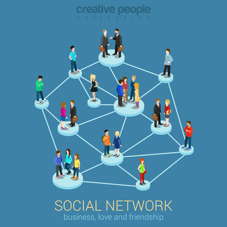 Social network media global people communication information sharing flat 3d web isometric infographic concept vector. Pedestals connection business love friendship. Creative people collection.