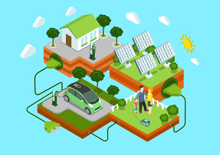 Flat 3d web isometric alternative eco green energy lifestyle infographic concept vector. Electric car sun batteries family house on green lawn cord connection. Ecology power consumption collection.