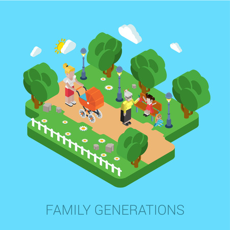 parenting: Flat 3d family parenting generations children kids people concept. Mother in park pram buggy girl daughter granny grandmother. Website infographics web design isometric elements vector illustration.