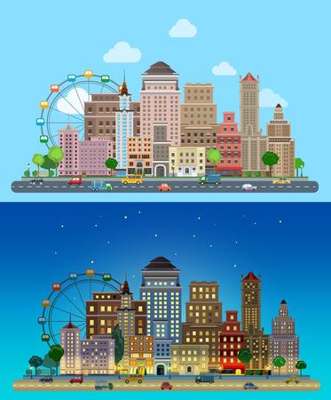 luna caricatura: Carrusel de dibujos animados plana rascacielos históricos de la ciudad fijó día y noche. Carretera carretera calle tráfico transporte avenida antes de la línea de edificios rascacielos oficinas del centro de negocios. Urban colección lifestyle.