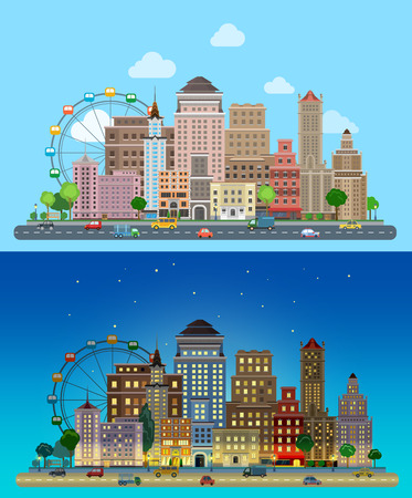 city background: Flat cartoon carousel historic skyscrapers city set day and night. Road highway avenue transport street traffic before line of buildings skyscrapers business center offices. Urban life lifestyle collection.