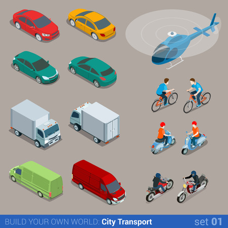 vehicle: Flat 3d isometric high quality city transport icon set. Car van bus helicopter bicycle scooter motorbike and riders. Build your own world web infographic collection.