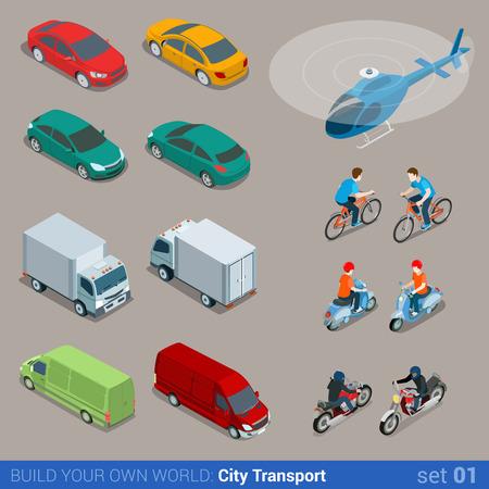 Flat 3d isometrico di alta qualità icona trasporto urbano set. Van auto elicottero autobus motorino bicicletta moto e piloti. Costruisci il tuo mondo web collezione infografica.