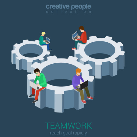 development: Developers programmer coder teamwork cogwheel flat 3d web isometric infographic vector. Micro young men staff team members sitting on huge gear connection. Creative people collection. Illustration
