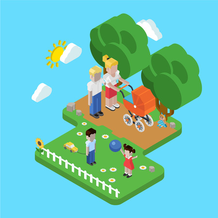 parenting: Flat 3d family parenting children kids people concept. Isometric parents in park mother father pram buggy girl boy son daughter. Website click for infographics design web elements vector illustration.