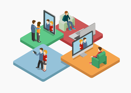Selfie flat 3d web isometric infographic concept vector. Couple making self photo shot by smart phone for social media network post. Creative people collection.