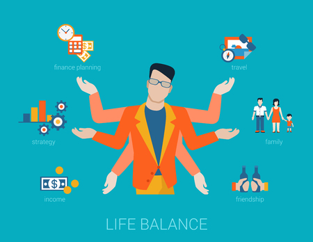 Flat life balance many armed young man abstract shiva lifestyle concept. Male figure with multi hands pointing to work income finance planing strategy family travel friendship aspects. Vectores