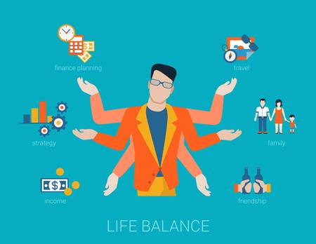 Flat life balance vele gewapende jongeman abstract shiva lifestyle concept. Mannelijke figuur met multi handen naar inkomen financiering planing strategie familie reizen vriendschap aspecten werken. Stock Illustratie