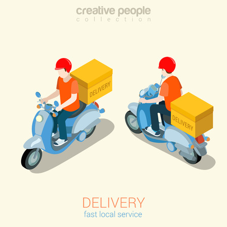 Scooter delivery man flat 3d web isometric infographic concept vector template mockup. Creative people collection. Illustration