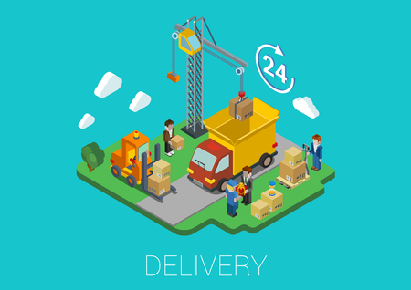movers: Flat 3d isometric delivery van cargo shipment crane and movers loading web infographic concept vector. 24-hour round-the-clock full time delivery island conceptual.