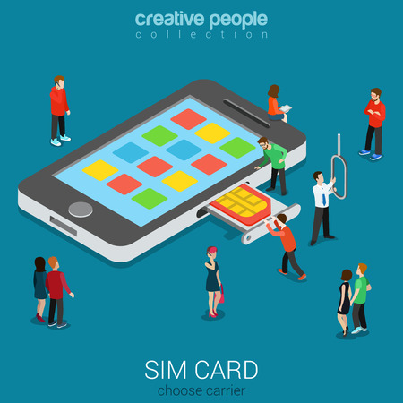 Flat 3d isometric mobile carrier SIM card insert process concept. Micro people stick nano SIM into smartphone. Connectivity generation concept. Build creative people world constructor collection. Ilustrace