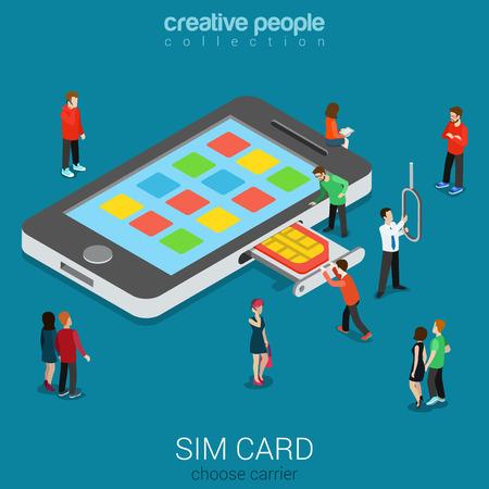 operador de telefonía móvil concepto 3D isométrica plana tarjeta SIM proceso de inserción. personas stick micro nano SIM en el smartphone. concepto de generación de conectividad. Construir la gente creativa colección constructor mundo. Ilustración de vector