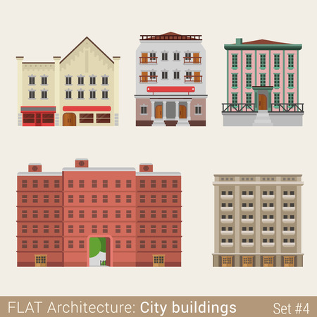 municipal: Flat style modern classic municipal buildings set. School university library house. City design elements. Stylish design architecture collection.