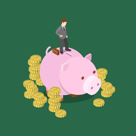 monetary: Investor making decision flat 3d web isometric infographic concept vector. Businessman stands on big moneybox. Creative people financial monetary piggy bank savings collection.