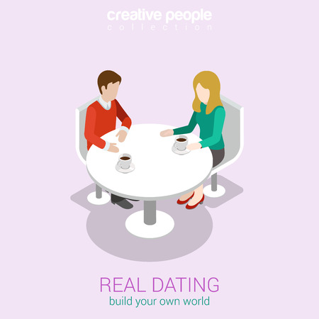 round table: Real dating flat 3d web isometric infographic concept vector. Couple date in real life sitting talking restaurant cafe table. Build your own world creative people collection. Illustration