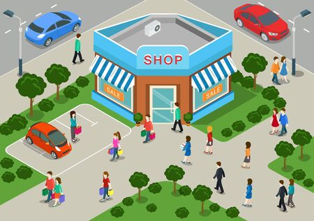 Shop building local store street sale flat 3d web isometric infographic concept