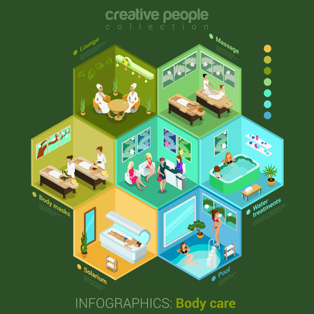 salon: Flat 3d isometric spa salon body care studio abstract interior room cell customers clients visitors workers staff concept vector. Solarium pool water treatment body mask lounge massage lobby. Creative people in cells infosgraphic collection. Illustration