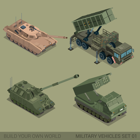 tracked: Flat 3d isometric high quality military vehicles machinery transport icon set. Tank self propelled artillery multiple rocket launch system MRLS tracked caterpillar. Build your own world web collection