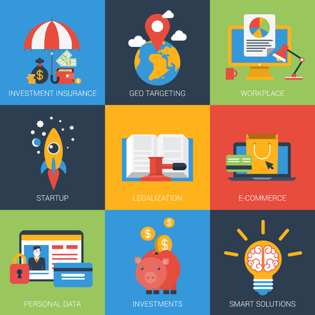 Flat icons set startup investment geo targeting insurance personal data smart solutions legal documents e-commerce. Web click infographics style vector illustration concept collection. Illustration