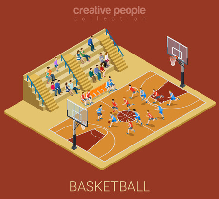 competitions: Basketball team competition match play. Sport modern lifestyle flat 3d web isometric infographic vector. Young joyful people team sports championship. Creative sportsmen people collection.