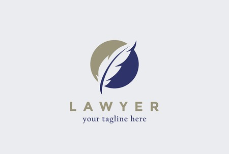 firm: Lawyer Law firm  design Feather Quill symbol vector design template